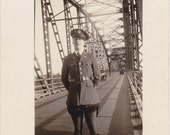Soldier on Katy Bridge- 1920s Antique Photograph- Boonville, Missouri- Steel Trusses- Military Uniform- Army Photo- Paper Ephemera