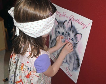 Vintage Kitty Party Printable Pin the Bow on the Kitty Game