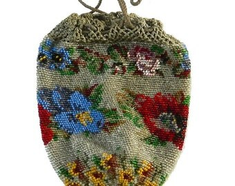 Colorful Antique Micro Bead Reticule Handbag