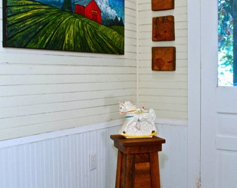 Reclaimed Wood Pedestal Farmhouse Furniture Side Table Handmade in Mississippi