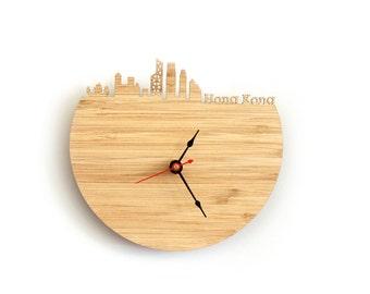 Wall Clock - Hong Kong, China Skyline