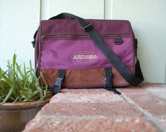 Vintage The Original Arizona Jean Company Purple Rustic Brown 90s 80s Nylon Leather Crossbody Messenger Bag Pack Book Bag Student Bag Preppy