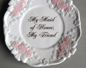 Vintage Maid Of Honor Plate Papel Giftware Pink Roses - #