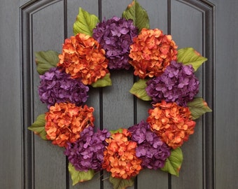 Hydrangea Wreath Halloween Summer Fall Wreath Grapevine Door Wreath Orange Purple Hydrangea Floral Door Decoration Indoor Outdoor