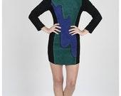 Vintage 80s Color Block Wavy Stripe Suede Mini Bodycon Dress M L Green Blue Black Stretch Side Panels