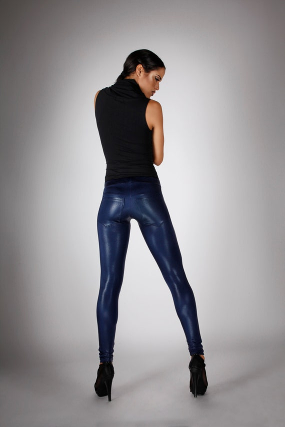 Navy Metallic Leggings w. Jeans Back Dark Blue Spandex Pants