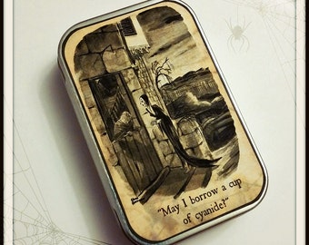Morticia - large pillbox tin / stash case