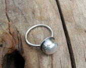 Scalloped Pearl Stacking Ring Handmade in Fine Silver and Sterling Silver. Made to Order in Your Size. June birthstone