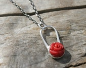 Red Coral Carved Rose Bezel Drop Necklace in Sterling Silver on Antiqued Sterling Silver Chain.