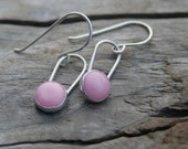 Baby Pink Coral and Sterling Silver Bezel Set Dangle Earrings. Handmade sterling ear wires, ear hooks.