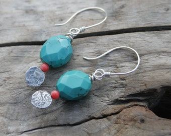 Chunky Faceted Turquoise Gemstone and Pink Orange Coral, Sterling Silver Paddle Wire Wrapped Earrings. Handmade ear wires, ear hooks