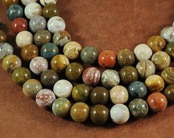 Ocean Jasper LARGE HOLE beads - 12mm smooth round - Full 8 inch strand - 2.5mm Hole