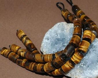 Tiger Eye LARGE HOLE beads - 10x14mm Barrel Beads - 8 inch strand - 2.5mm Hole