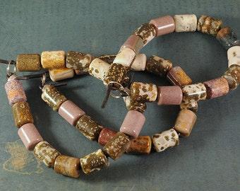 Ocean Jasper LARGE HOLE beads - 10x14mm barrel beads - 8 inch strand - 2.5mm Hole