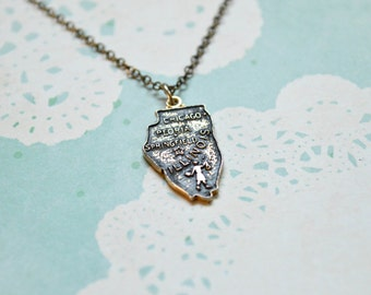 Vintage Illinois Necklace - State Necklace - Illinois State - Chicago - Peoria - Springfield - State Jewelry - Illinois Charm