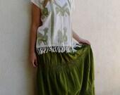 Collectors Mexican handwoven blusa w/fringe - La Chinantla area of Oaxaca - green on white - eagles - MED. Frida Kahlo