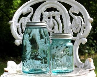 2 Antique Aqua Ball Mason Jars - QUART  & PINT Jars w/Zinc Lids - c. 1910-1923 - Wedding - Collectible - Storage - Insurance with Shipping