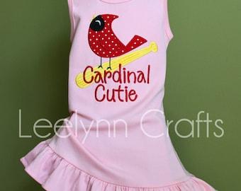 Cardinal Cutie St. Louis Cardinals Dress, Tank Top, Shirt - Your Choice of Top or Dress