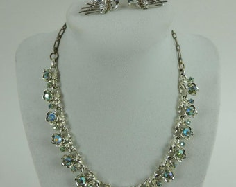 Vintage STAR Jewelry Set Silver AB Green Crystal Necklace and Clip Earrings