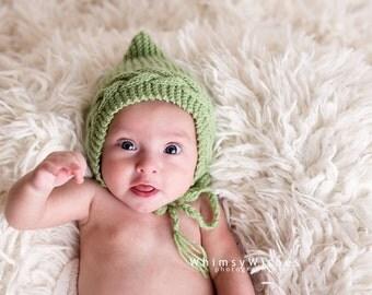 newborn photo prop, Easter/ spring  bonnet newborn/ baby hat in 3 colors, newborn girl, newborn boy, newborn knit hat, newborn bonnet