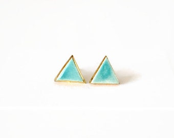 Mint triangle earrings - ceramic post stud earrings with 24K gold outline - small geometric jewelry