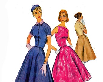 Bateau Neckline 1950s Dress with Full Skirt & Bolero Jacket UNCUT Vintage Sewing Size 14 Bust 32 McCalls 3533 Boatneck dress pattern
