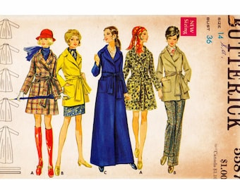 Wrapped Coat UNCUT Vintage Sewing Pattern Butterick 5587 Size 14 Bust 36 A-Line Wrap Coat Raglan Sleeves