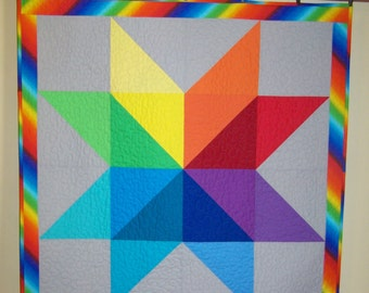 Baby Quilt, Rainbow Quilt, Star Quilt, Gender Neutral, Boy Quilt, Girl Quilt, Handmade Quilt, Travel Quilt, Made to Order, Busy Hands Quilts