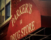 Red sign, Parker's Drug Store, dark red wall art, rustic modern, loft or office decor