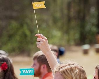 "Custom Celebratory Paper Flags - 12"" sticks - Choose your message - color - font - Large Flags"
