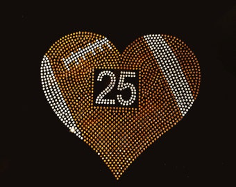 Rhinestone football heart with custom number tee