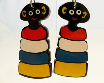 Vintage Hand Painted Wood Earrings Ethnic African Pierced Dangle Retro 1980's Retro Large Chunky Wooden