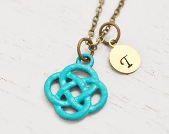 celtic knot necklace, patina jewelry, celtic knot pendant, irish jewelry, friendship necklace, initial gift ,personalized jewelry, layering