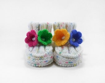 Knitted Baby Booties - White with Colorful Flowers, 3 - 6 months