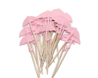 24 Baby Girl Pink Umbrella Party Picks, Cupcake Toppers-Baby Shower