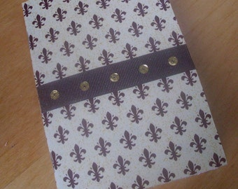 Pocket Notebook - Fleur De Lis - Journal - Jotter - Notepad - Brown - handmade - 24 blank pages - Neonne Luna