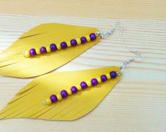 Leather earrings, dangle earrings,yellow earrings,beaded earrings,long earrings,leather dangle,leather jewelry,yellow leather,purple jewelry