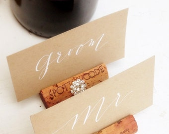 Wine Cork Place Card Holder Wedding Holders Bling