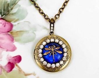 Lockets - Dragonfly Locket Necklace, Sapphire Blue Glass Cabochon Jewel, Anitqued Brass Photo Locket, September Birthstone Mom Gift Idea