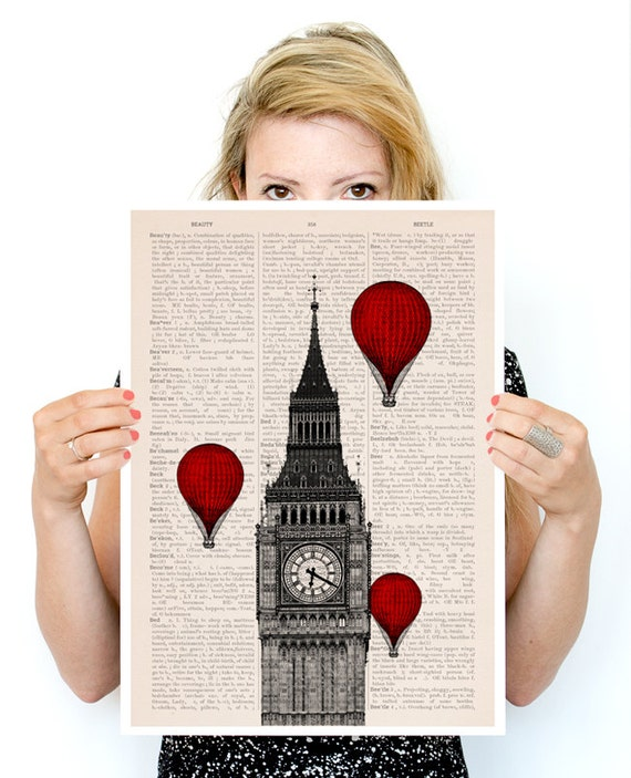 Spring Sale Big ben and a ballon ride poster, London Art, Wall art r,  England art poster, Giclee poster,  PTV09