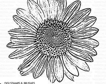 Sunflower Clip Art - Digital Stamp and Brush - INSTANT DOWNLOAD - for Cards, Scrapbooking, Journaling, Invites, Collage, Crafts and More