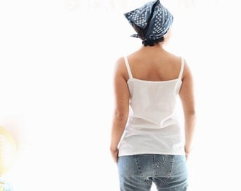 Cotton tank top, white camisole, woven cotton camisole, Mother's day, white cotton top tank, sleeveless top, thin straps top, summer clothes
