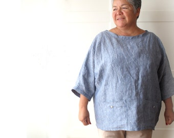 Woman linen tunic, oversized top with pockets, linen shirt. Sizes M, L, XL. Softened flax. 9 colors. Loose fit. Large size.