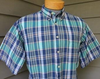 vintage 1980's Men's short sleeve - button down collar shirt. Vibrant Madras plaid - All cotton. Large - Extra Large