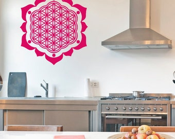 Flower of Life Petals Vinyl Wall Decal | mandala seed Sacred geometry, rainbow Holographic sticker art, yoga