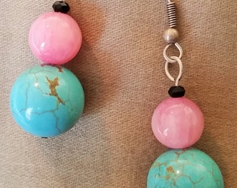 Rose and Turquoise Dangle Earrings