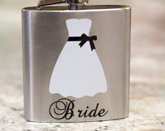 Bride dress flask, 6 ounce, stainless steel personalized flask.  Bridesmaid and Maid of honor gift.  Script font with title.  Bridal shower.
