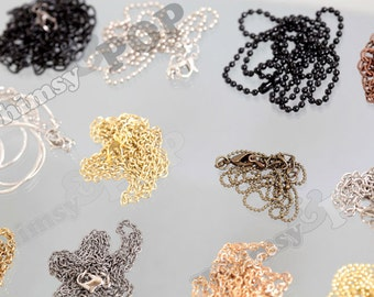 CLEARANCE OVERSTOCK SALE Mixed Mystery Lot - Alloy Necklace Chains - Necklace Chains with Clasp, Necklace Chain, Various Sizes (R6-109)
