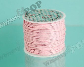 1 -  Roll Strong and Stretchy Cotton Waxed Cord Pink, Beading Cord, 1mm Thick, Stretch Cord, Bead Cord, 25 Meter Roll (C1-30)