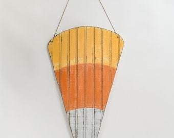 "24"" Wooden Candy Corn Bead Board Door Hanger for Halloween & Fall Decor"